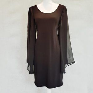 Connected Apparel Sheer Cape Sleeve Mini Dress